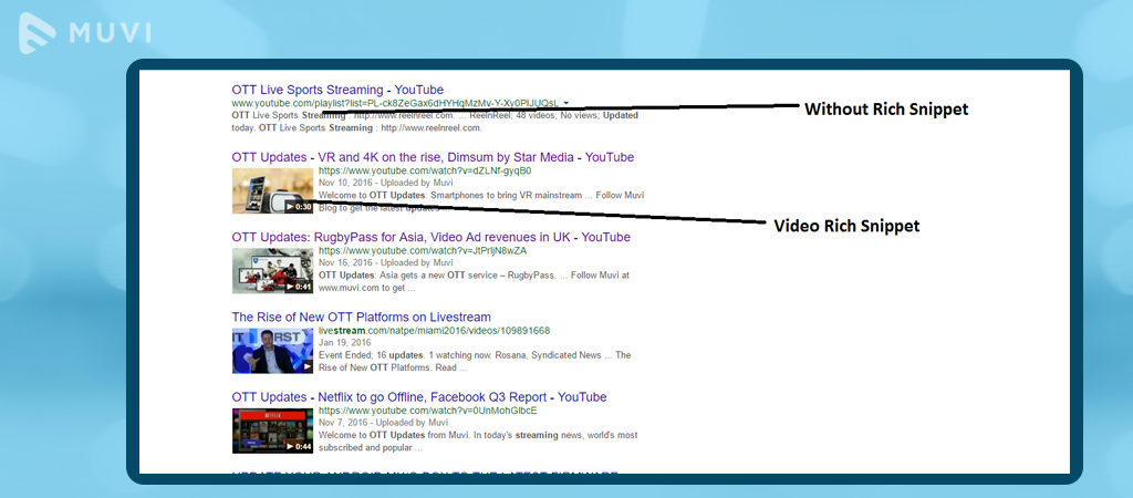 Create Video rich snippets on ott platform