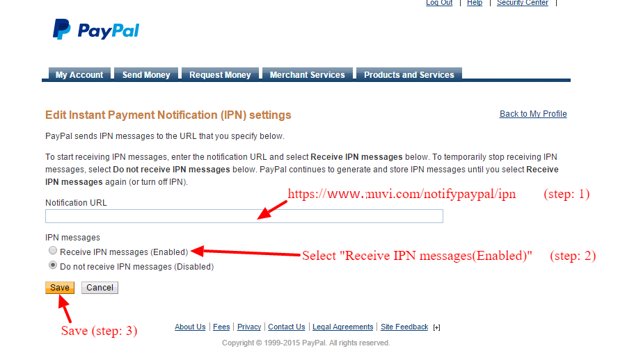 Activating PayPal IPN - Muvi