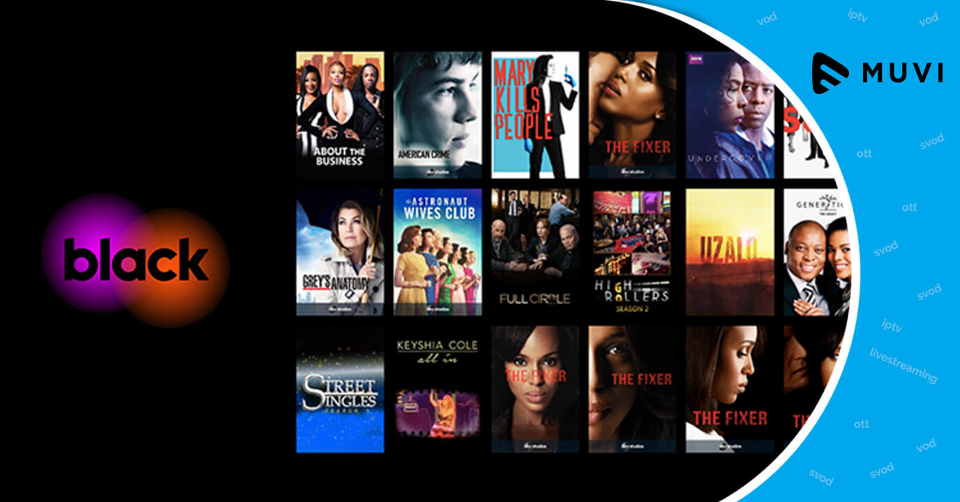 VoD Service black welcoming users to subscription with Free Trial