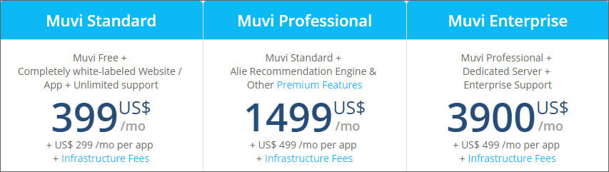 monthly price plan for audio and video streaming website