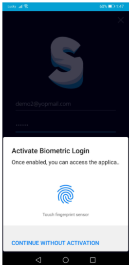 screen their fingerprint to activate the biometric system