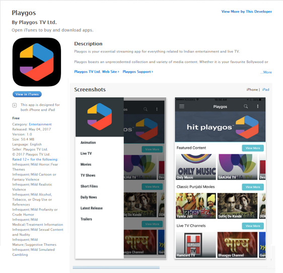 Playgos iOS App